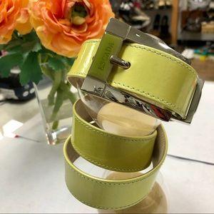 ESCADA Lime Leather Designer Belt